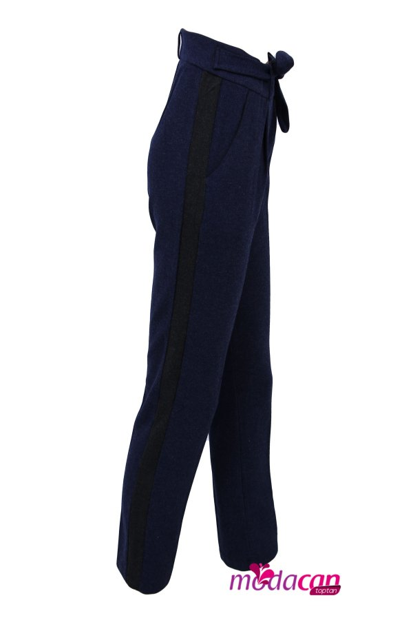 Bağlamalı Şeritli Pantolon