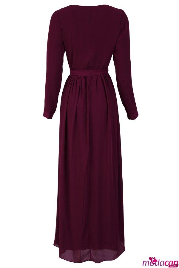 Fermuarlı Şifon Elbise
