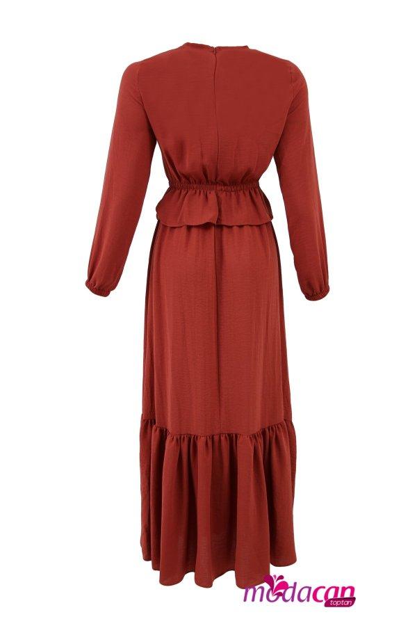 Bel Fırfırlı Elbise