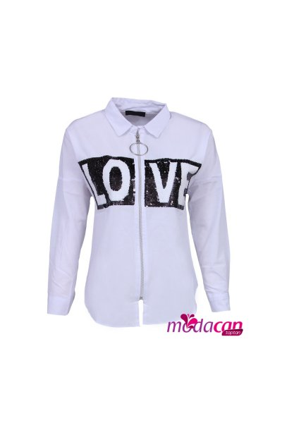 Love Pullu Gömlek Yaka Ceket