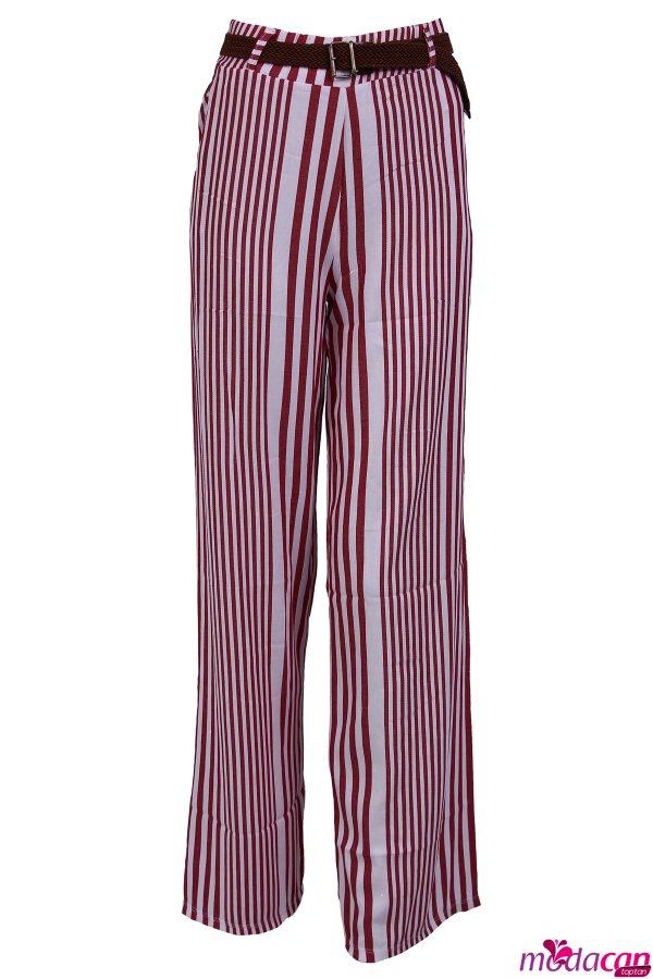 Kemerli Çizgili Pantolon