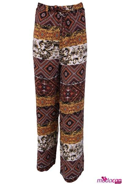 Etnik Desenli Bağlamalı Pantolon