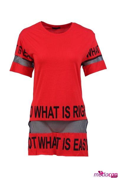 Kol Eteği Fileli Tişört