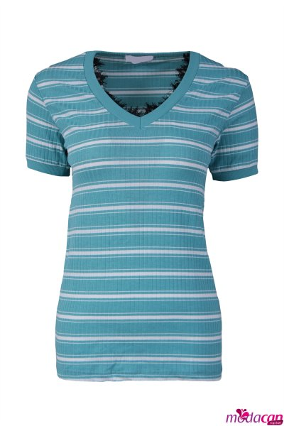 Dantelli Çizgili Tişört