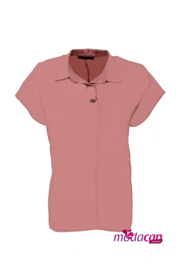 Arkası Düğmeli Kısa Kol Gömlek