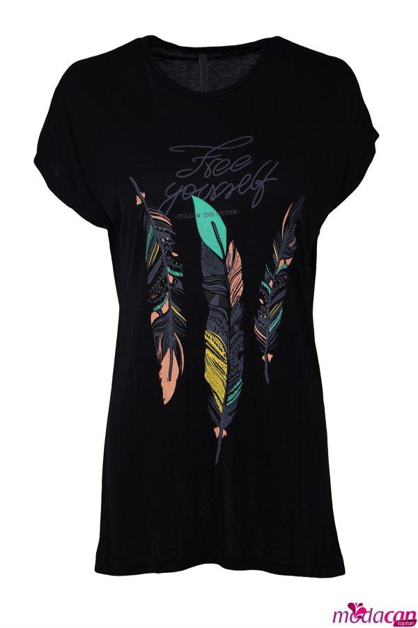 Yaprak Desenli Tişört