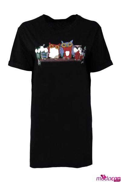 Baykuş Baskılı Tişört