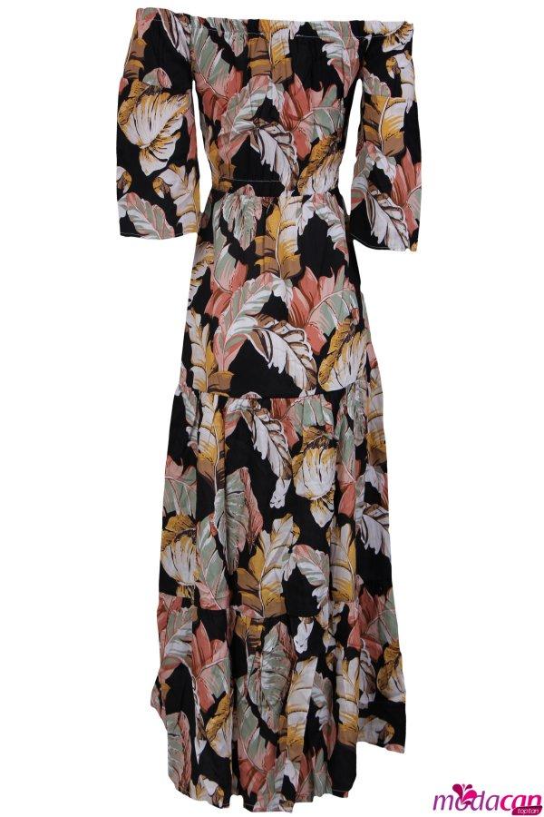 Palmiye Desenli Elbise