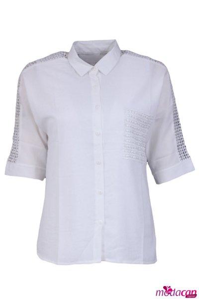 Cep Detaylı Kol Güpürlü Bluz
