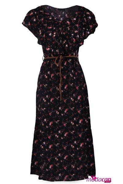 Şal Yaka Desenli Elbise