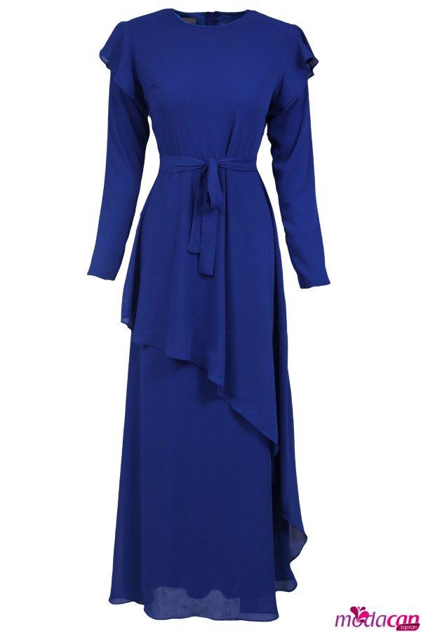 Omuz Fırfırlı Elbise