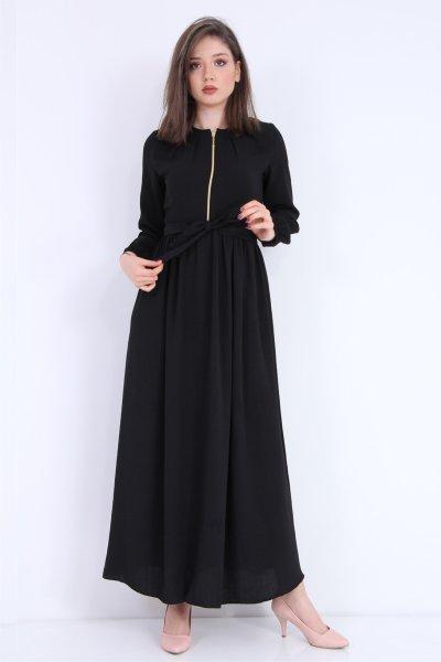 Fermuarlı Ayrobin Elbise