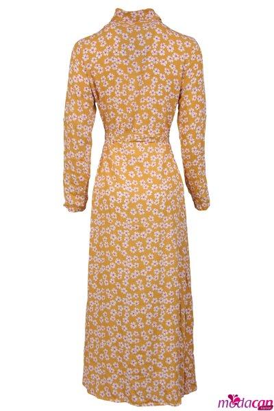Çiçekli Uzun Kol Elbise