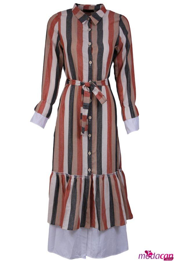 Kol Ve Etek Ucu Fırfırlı Elbise