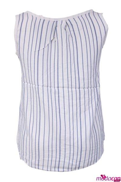 Çizgili Cepli Bluz