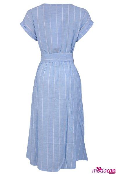 Kısa Kol Çizgili Elbise