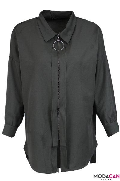 Gömlek Yaka Fermuarlı Ceket