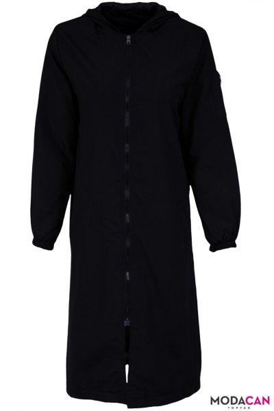 Kapşonlu Trenç Uzun Ceket