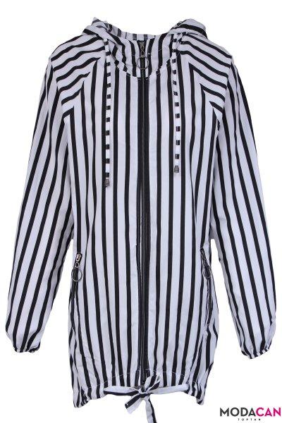 Çizgili Trenç Ceket