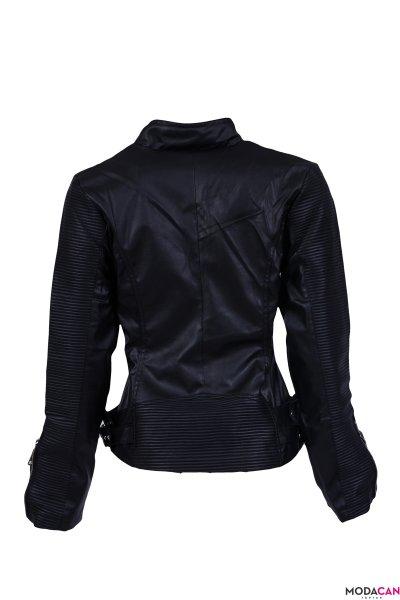 Çapraz Fermuarlı Deri Ceket