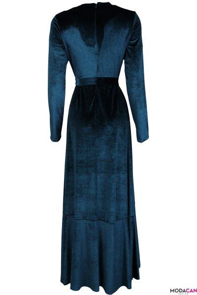Fırfırlı Kadife Elbise