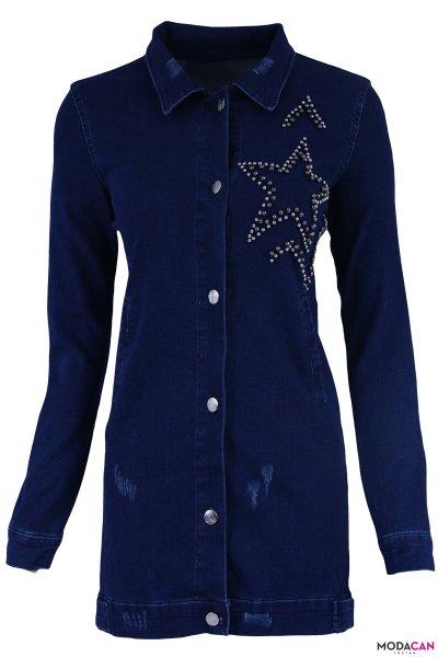 Yıldız Taşlı Kot Ceket