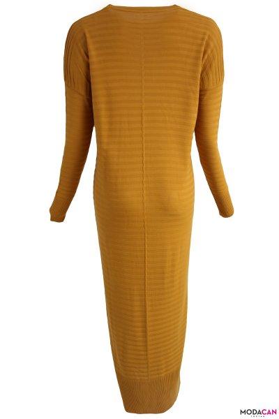 Şeritli Uzun Elbise