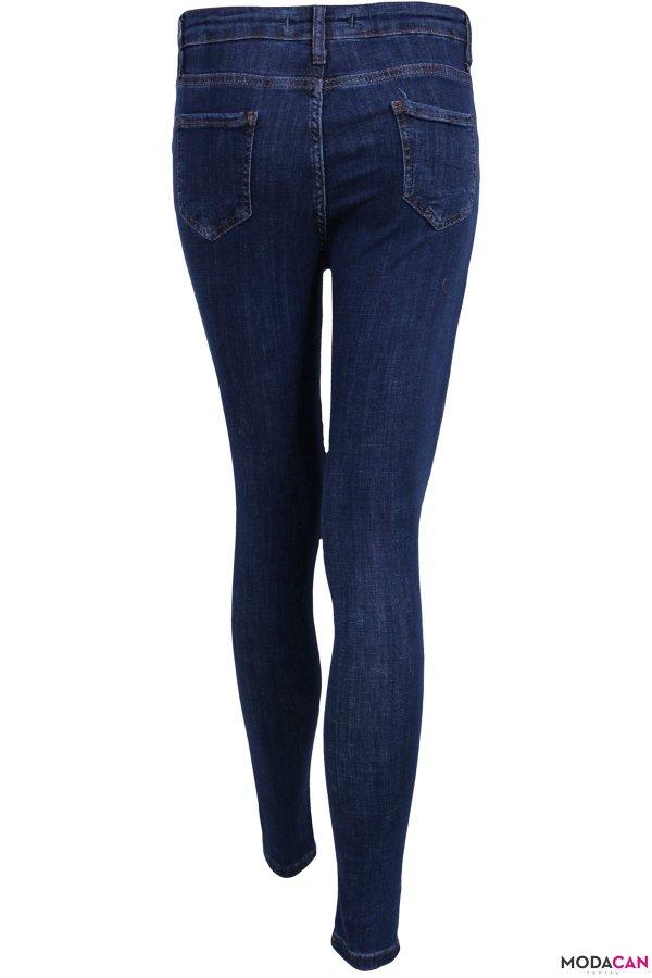Dar Paça Yırmaçlı Jeans Pantolon