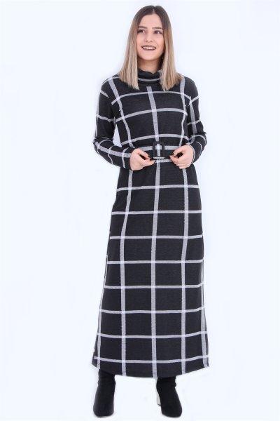 Kare Desenli Kemerli Elbise