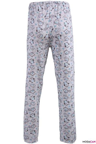Kuş Baskılı Polarlı Pijama Altı