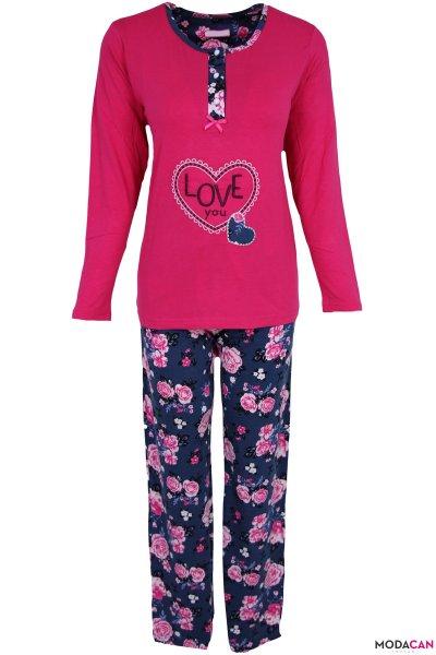 Love Baskılı Desenli Pijama Takımı
