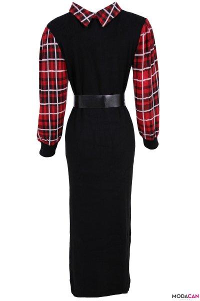 Ekose Detayşo Kemerli Triko Elbise