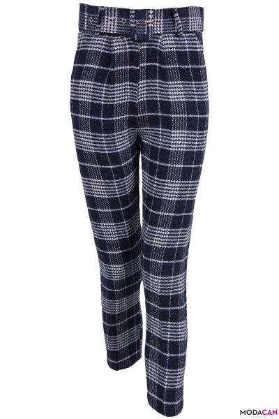 Ekose Detaylı Kemerli Pantolon