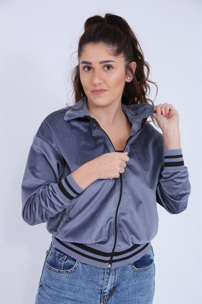 Fitilli Fermuarlı Ceket