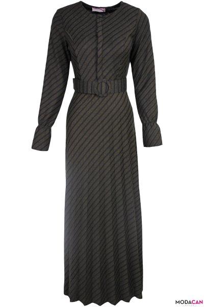 Çizgili Piliseli Elbise