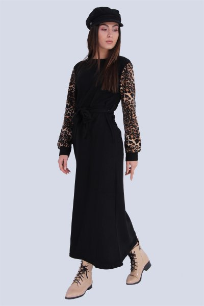 Kolları Leopar Desenli Elbise