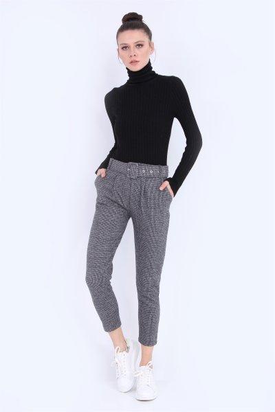 Kazayağı Desenli Kemerli Pantolon