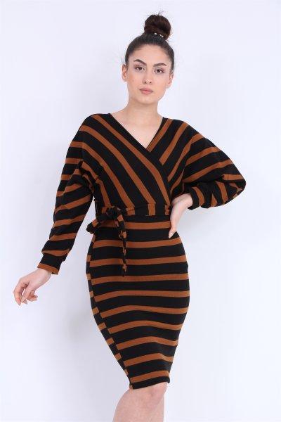 Çizgili Triko Elbise
