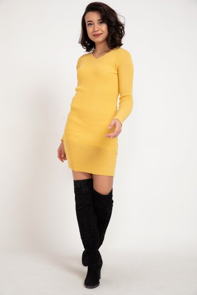 Merdiven Yaka Triko Elbise & Tunik