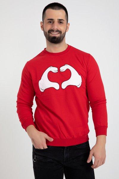 Kalp Baskılı Erkek Sweat