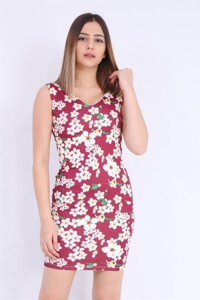 Çiçek Desenli Kalem Elbise