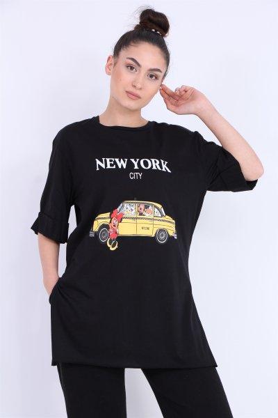 New York Yazılı Salaş Tişört