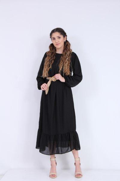 Uzun Kemerli Ponponlu Elbise