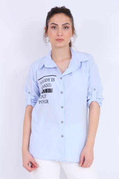 Yazı Desenli Gömlek